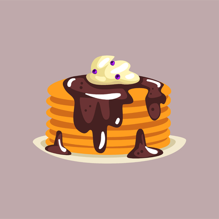 Fresh tasty pancakes with chocolate and whipped cream on a plate, traditional breakfast food vector Illustration Ilustração
