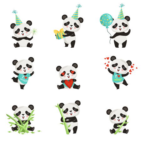 Set of funny little panda in various situations. Cartoon character of cute bamboo bear. Graphic design for children print, sticker or birthday postcard. Flat vector icons isolated on white background.