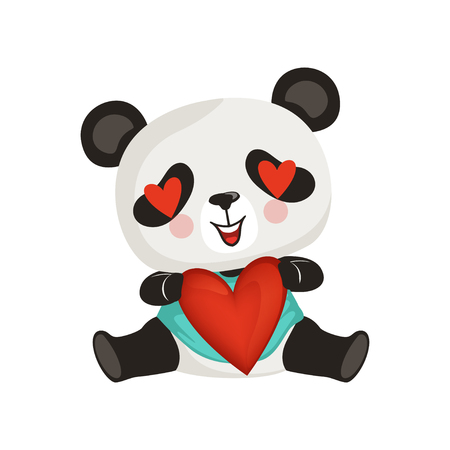 Adorable panda holding red heart. Cute enamored bamboo bear. Cartoon character of little exotic animal. Design for greeting card, sticker or print. Colorful flat vector illustration isolated on white. Illustration