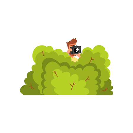 Professional male photographer paparazzi hiding in green bushes with photo camera vector Illustration isolated on a white background.