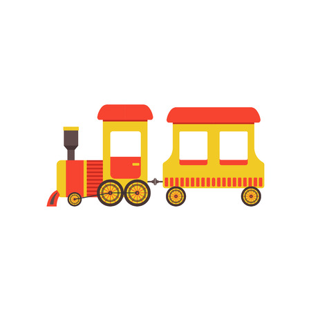 Childrens cute cartoon toy cargo train, yellow railroad toy with locomotive vector Illustration on a white background