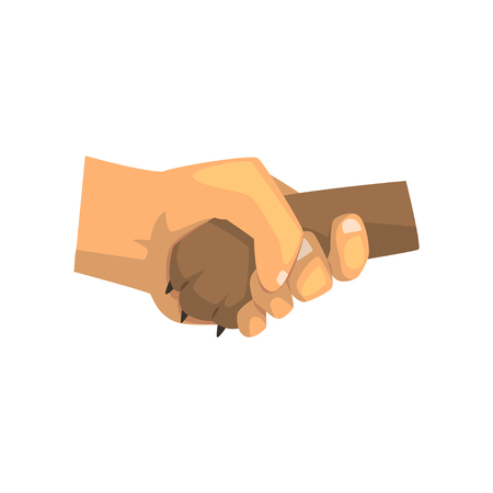 Dog paw and human hand shaking, friendship, training, veterinary care concept vector Illustration on a white background