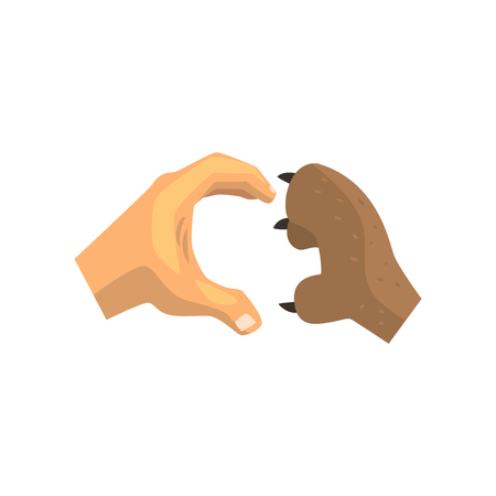 Human hand and dog paw making heart gesture, friends forever, training, veterinary care concept vector Illustration on a white background