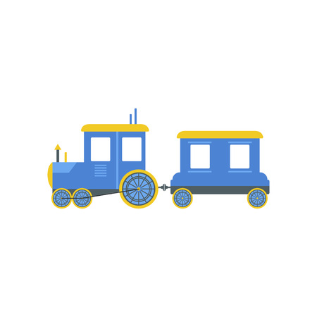 Kids cartoon blue toy train, railroad toy with locomotive vector Illustration isolated on a white background. Illustration