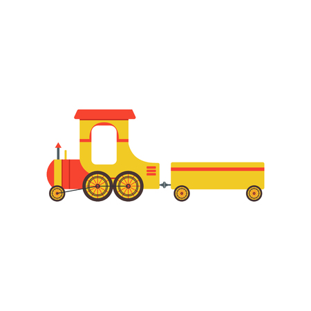 Kids cartoon yellow toy cargo train, railroad toy with locomotive vector Illustration on a white background