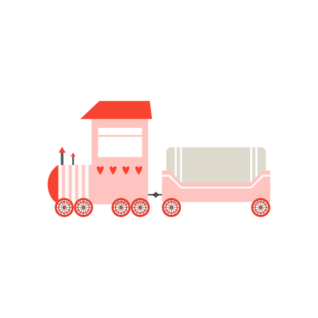 Cute cartoon pink toy cargo train, railroad toy with locomotive vector Illustration isolated on a white background.