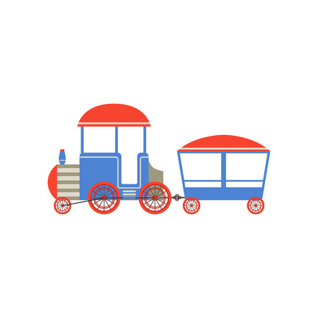 Kids toy train, blue and red cartoon railroad toy with locomotive vector Illustration on a white background
