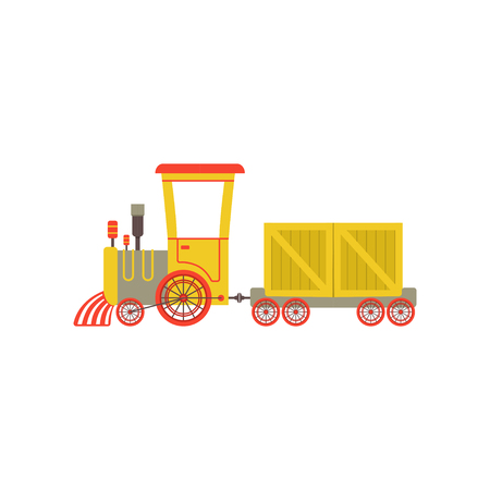 Childrens cute cartoon yellow toy cargo train, railroad toy with locomotive vector Illustration on a white background Standard-Bild - 100980156