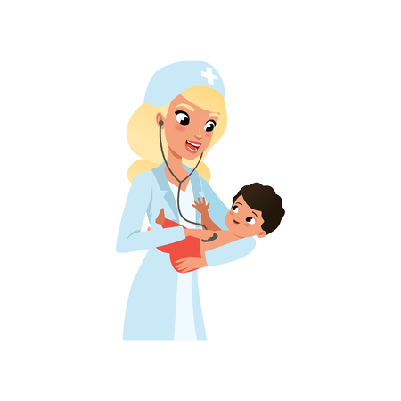 Female pediatrician in white coat doing medical examination of infant kid with stethoscope, healthcare for children vector Illustration isolated on a white background.