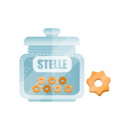 Stelle dry pasta in a transparent glass container with lid and name, traditional Italian cuisine menu, food vector Illustration isolated on a white background. Çizim