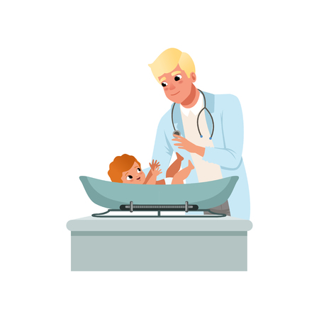 Male pediatrician in white coat weighting baby on scales at doctors office, healthcare for children vector Illustration isolated on a white background. Illustration