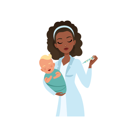 Female pediatrician in white coat examining newborn baby temperature by thermometer, healthcare for children vector Illustration isolated on a white background.