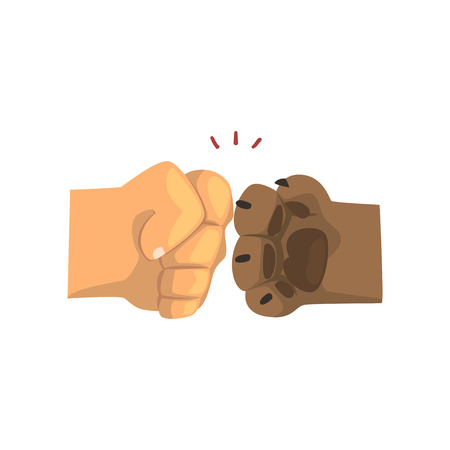 Dog paw and human hand bumping together, friendship, training, veterinary care concept vector Illustration on a white background Illustration
