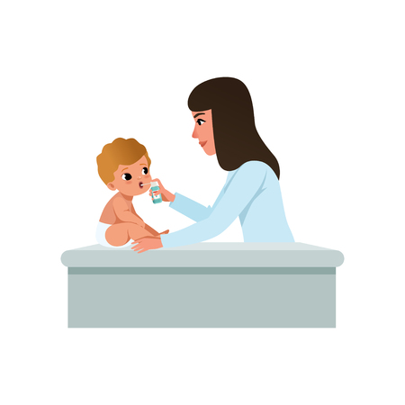 Female pediatrician in white coat doing inhalation to infant baby, treatment of sore throat, healthcare for children vector Illustration isolated on a white background.