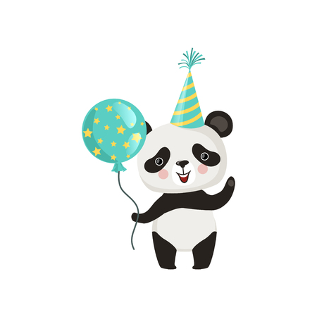 Panda holding glossy balloon and waving by paw. Funny bamboo bear in party hat. Flat vector design for childrens book or postcard Vectores
