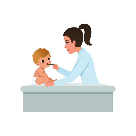 Female pediatrician in white coat looking at infant kid throat with tongue depressor, healthcare for children vector Illustration isolated on a white background. Illustration