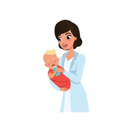 Female pediatrician or nurse in white coat feeding baby from a bottle, healthcare for children vector Illustration isolated on a white background.
