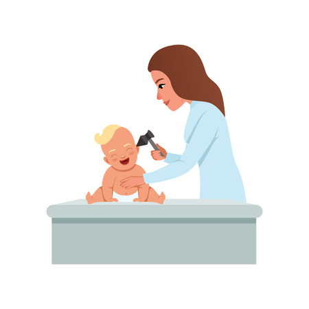 Female pediatrician in white coat checking infant baby ear with otoscope, healthcare for children vector Illustration on a white background