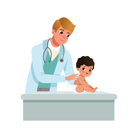 Male pediatrician examining infant with kid red rash, healthcare for children vector Illustration on a white background
