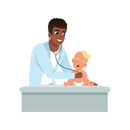 Male pediatrician doing medical examination of baby with stethoscope at doctors office, healthcare for children vector Illustration on a white background