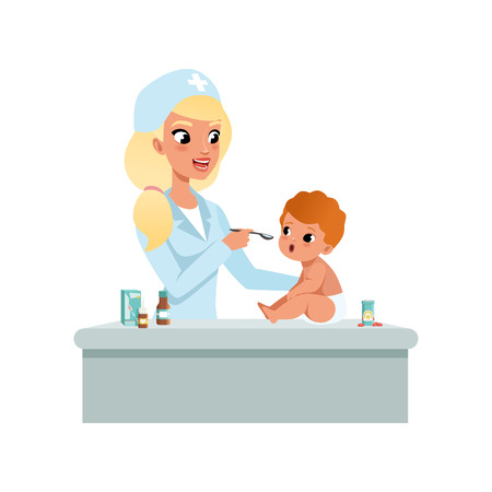 Female pediatrician in white coat taking spoon of syrup medicine to infant baby, healthcare for children vector Illustration on a white background