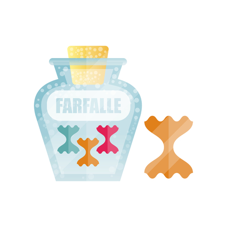 Farfalle dry pasta in a transparent glass container with lid and name, traditional Italian cuisine menu, food vector Illustration Çizim