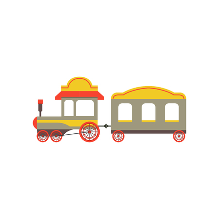 Childrens passenger toy train, colorful cartoon railroad toy with locomotive vector Illustration on a white background  イラスト・ベクター素材