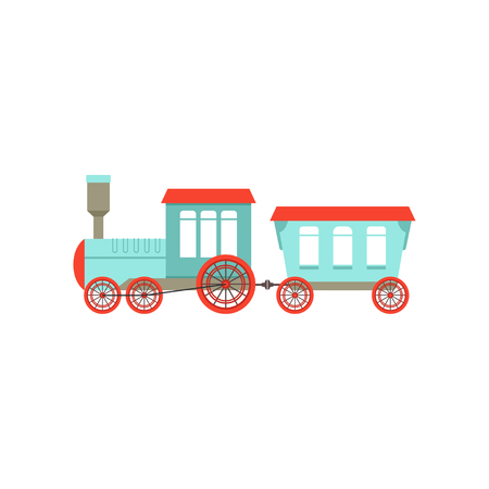 Kids cute cartoon toy passenger train, colorful railroad toy with locomotive vector Illustration isolated on a white background. Vettoriali