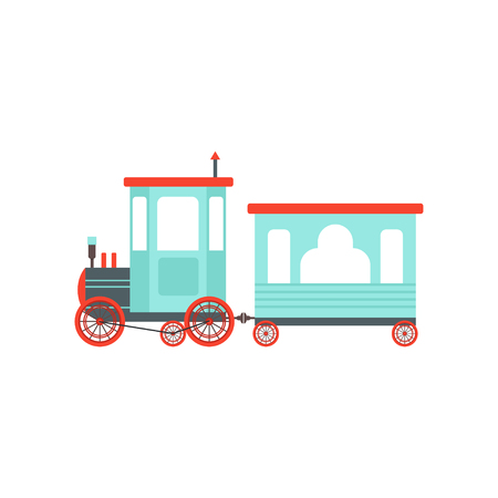 Kids cartoon toy train, cute railroad toy with locomotive vector Illustration isolated on a white background. Illustration