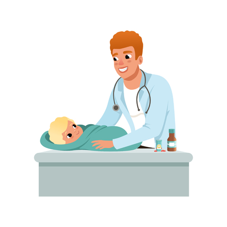 Male pediatrician doing medical exam of baby at doctors office, healthcare for children vector Illustration isolated on a white background. Illusztráció