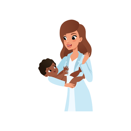 Female pediatrician in white coat holding little baby in hands, healthcare for children vector Illustration isolated on a white background. Illustration