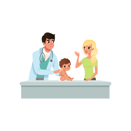 Male pediatrician doing medical exam of little boy or girl at doctors office, healthcare for children vector Illustration isolated on a white background.
