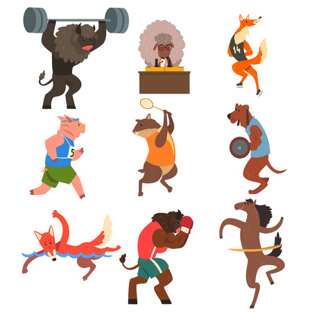 Animals doing exercise in the gym, fitness and healthy lifestyle vector Illustrations isolated on a white background. 일러스트