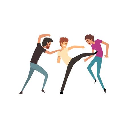 Men fighting and quarrelling, aggressive and violent behavior vector Illustration on a white background Illustration