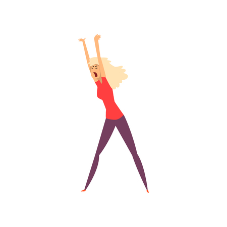 Aggressive girl yelling vector Illustration on a white background