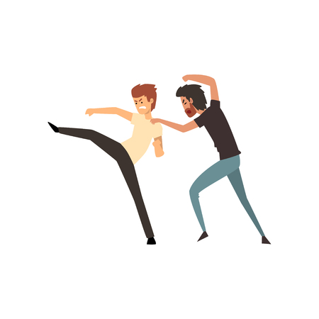 Two aggressive men fighting vector Illustration on a white background.
