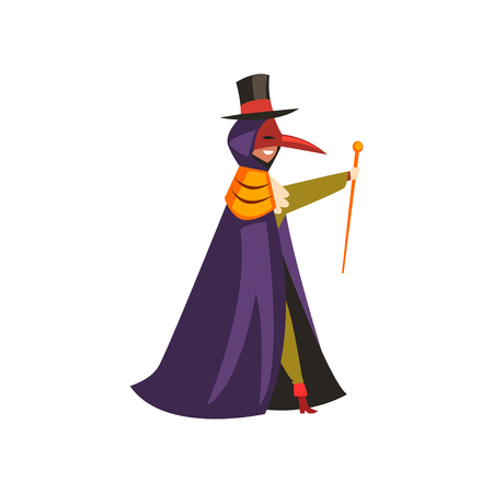 Plague doctor costume, man at carnival, Halloween party cartoon vector Illustration on a white background