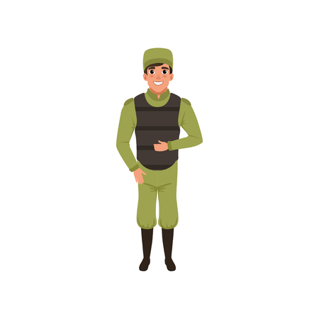 Army trooper wearing green uniform, cap and bulletproof vest. Member of armed forces. Colorful flat vector design
