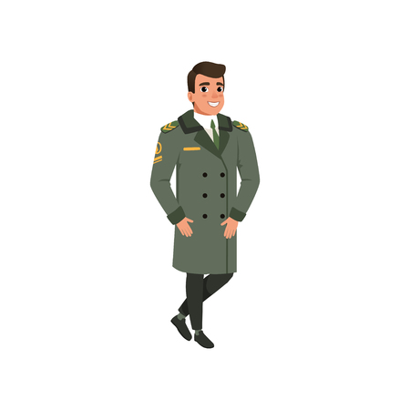 Aviation officer in green coat with rank stripes. Cartoon character of army pilot. Colorful flat vector design