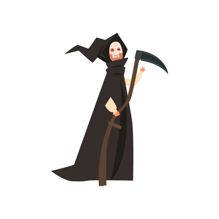 Person wearing in death costume, masquerade, carnival, Halloween party cartoon vector Illustration on a white background