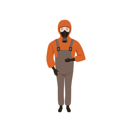 Young man wearing red jacket with hood, brown overall, gloves and gas mask. Guy in protective clothes. Flat vector design Illustration