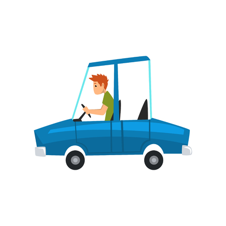 Man driving blue car, side view vector Illustration isolated on a white background.