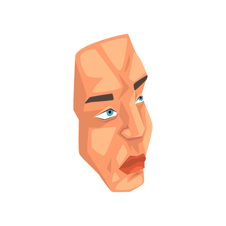 Face of man, male body part vector Illustration isolated on a white background.