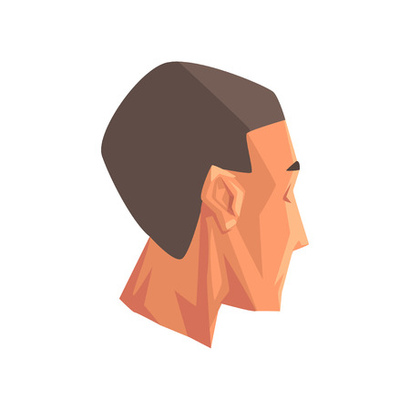 Male head, human body part vector Illustration isolated on a white background.