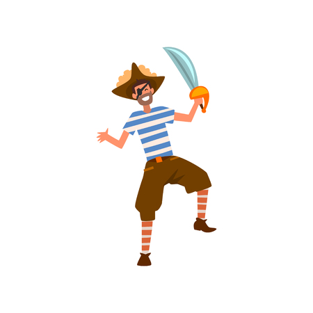 Man dressed in pirate costume at carnival party, masquerade cartoon vector Illustration on a white background
