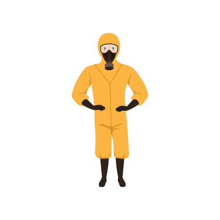 Worker of chemical laboratory wearing orange protective suit, gas mask, gloves and boots. Flat vector design Illustration