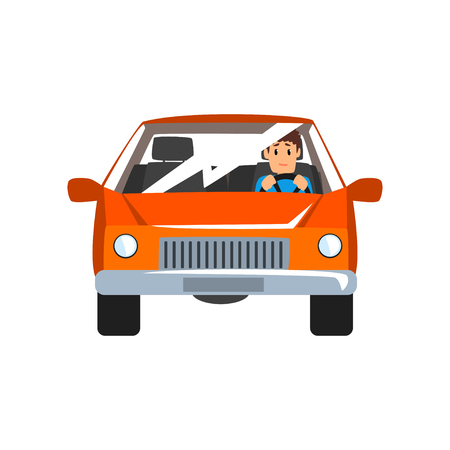 Man driving red car, front view vector Illustration isolated on a white background