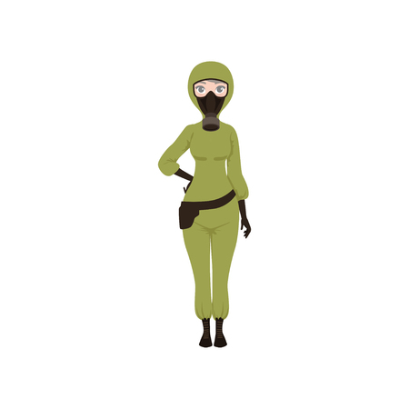 Woman dressed in chemical protective suit, gloves, gas mask and bag on thigh. Protection from hazardous chemicals. Flat vector design Illustration