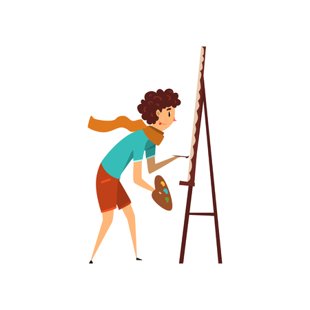 Woman artist character drawing on an easel with paints, hobby or profession concept cartoon vector Illustration on a white background