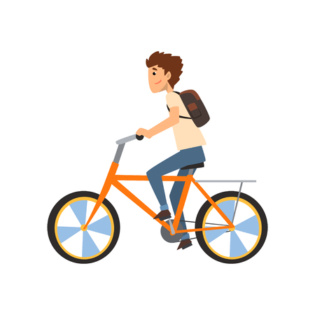 Young man with backpack riding bicycle, sport and physical activity concept vector Illustration i on a white background Stock Illustratie